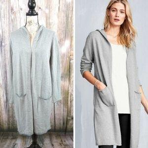 Eileen Fischer Organic Cotton Hooded Long Cardigan